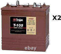 2x Batteries Discharge Slow Trojan T105 6v 225ah