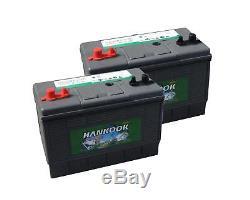 2x Hankook 100ah Battery Discharge Slow Marine Leisure + Sealed Battery