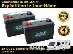 2x Hankook 100ah Battery Discharge Slow Motorhome 12v Dc31mf