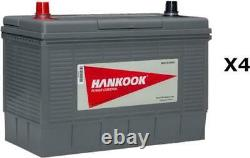4x Hankook 12v 130ah Battery Slow Discharge For Caravan, Camping Car Boat
