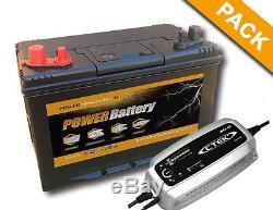 Boat Battery, Camper Slow Discharge 12v 75ah + Charger Ctek Mxs 10