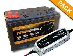 Boat Battery, Camper Slow Discharge 12v 75ah + Charger Ctek Mxs 3.6