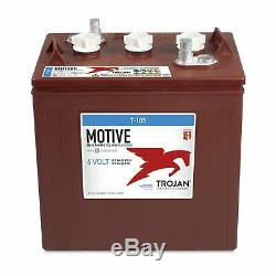 Set Of 4 Trojan Cyclic Battery 6v 225ah T-105 + Free Acid Golf Cart Sola
