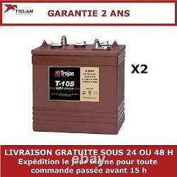 2x Batteries à décharge lente Trojan T105 6V 225Ah