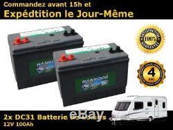 2x Hankook 100Ah Batterie Décharge Lente 4 ans de garantie Camping car