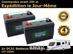 2x Hankook 100Ah Batterie Décharge Lente Loisirs Bateau, Camping