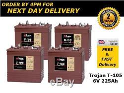 4x Trojan T-105 T105 batterie décharge lente 6V 225Ah 1000 cycles de recharge