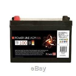 Batterie Auxiliaire Gel Camping Car Power Line 100 Ampères Powerlib