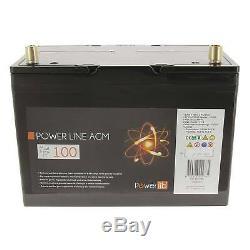 Batterie auxiliaire Camping Car Power Line AGM 100 Ampères Powerlib