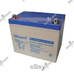 Batterie decharge lente Ultracell UC75-12 12v 75ah insert fileté M6