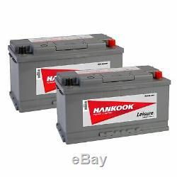 Batteries Camping Car Hankook 12V 110Ah Décharge Lente 2 Pièces Bateaux Caravane