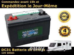 Hankook 100Ah batterie décharge lente 4 ans de garantie 12V Marine